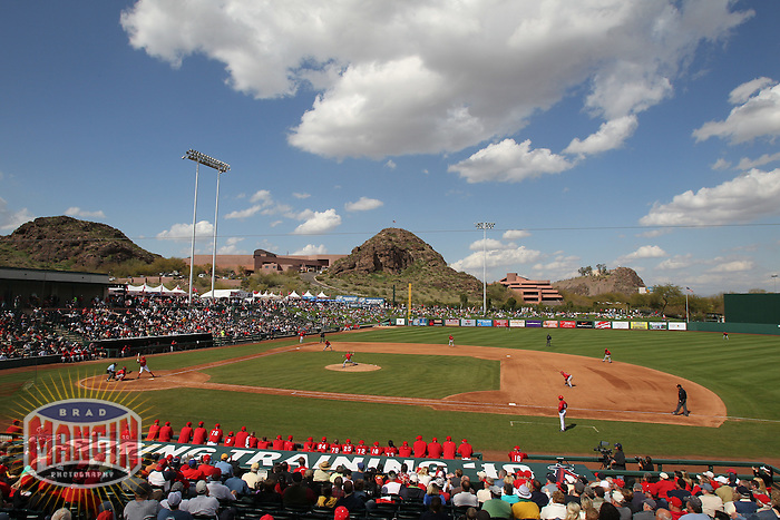 TEMPE - MARCH 10:  General overall scenic view of Tempe Diablo Stadium with clouds during the spring training game between the Los Angeles Angels of Anaheim and the Cincinnati Reds on March 10, 2010 at Tempe Diablo Stadium in Tempe, Arizona. (Photo by Brad Mangin)