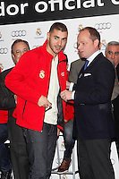 Real Madrid player Karim Benzema participates and recives new Audi during the presentation of Real Madrid's new cars made by Audi at the Jarama racetrack on November 8, 2012 in Madrid, Spain.(ALTERPHOTOS/Harry S. Stamper) .<br />