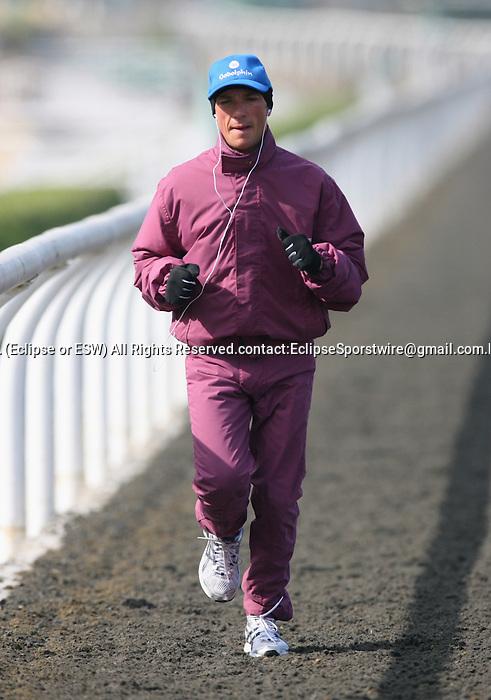 05 November 2009: Frankie Dettori jogs in preparation for the Breeders' Cup at Santa Anita Park
