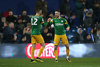 Preston North End's Alan Browne celebrates with Paul Gallagher after scoring his side's third goal<br /> <br /> Photographer Rob Newell/CameraSport<br /> <br /> The EFL Sky Bet Championship - Queens Park Rangers v Preston North End - Saturday 19 January 2019 - Loftus Road - London<br /> <br /> World Copyright &copy; 2019 CameraSport. All rights reserved. 43 Linden Ave. Countesthorpe. Leicester. England. LE8 5PG - Tel: +44 (0) 116 277 4147 - admin@camerasport.com - www.camerasport.com