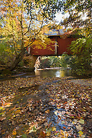 Red covered Bridge in fall
