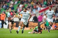 130712 Copyright onEdition 2012 ©.Free for editorial use image, please credit: onEdition..Chris Hala'ufia of London Irish in action against Harlequins at The Stoop, Twickenham in the first round of The J.P. Morgan Asset Management Premiership Rugby 7s Series...The J.P. Morgan Asset Management Premiership Rugby 7s Series kicked off again for the third season on Friday 13th July at The Stoop, Twickenham with Pool B being played at Edgeley Park, Stockport on Friday, 20th July, Pool C at Kingsholm Gloucester on Thursday, 26th July and the Final being played at The Recreation Ground, Bath on Friday 3rd August. The innovative tournament, which involves all 12 Premiership Rugby clubs, offers a fantastic platform for some of the country's finest young athletes to be exposed to the excitement, pressures and skills required to compete at an elite level...The 12 Premiership Rugby clubs are divided into three groups for the tournament, with the winner and runner up of each regional event going through to the Final. There are six games each evening, with each match consisting of two 7 minute halves with a 2 minute break at half time...For additional images please go to: http://www.w-w-i.com/jp_morgan_premiership_sevens/..For press contacts contact: Beth Begg at brandRapport on D: +44 (0)20 7932 5813 M: +44 (0)7900 88231 E: BBegg@brand-rapport.com..If you require a higher resolution image or you have any other onEdition photographic enquiries, please contact onEdition on 0845 900 2 900 or email info@onEdition.com.This image is copyright the onEdition 2012©..This image has been supplied by onEdition and must be credited onEdition. The author is asserting his full Moral rights in relation to the publication of this image. Rights for onward transmission of any image or file is not granted or implied. Changing or deleting Copyright information is illegal as specified in the Copyright, Design and Patents Act 1988. If you are in any way unsure of your right to publish this image please