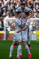 Leeds United's Luke Ayling celebrates scoring the opening goal with Ben White and Liam Cooper<br /> <br /> Photographer Alex Dodd/CameraSport<br /> <br /> The EFL Sky Bet Championship - Hull City v Leeds United - Saturday 29th February 2020 - KCOM Stadium - Hull<br /> <br /> World Copyright © 2020 CameraSport. All rights reserved. 43 Linden Ave. Countesthorpe. Leicester. England. LE8 5PG - Tel: +44 (0) 116 277 4147 - admin@camerasport.com - www.camerasport.com