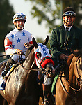 "October 06, 2018 : #1 Next Shares and jockey Tyler Gaffalione win the 33rd running of The Shadwell Turf Mile (Grade 1) $1,000,000 ""Win and You're In Breeders' Cup Mile Division"" for trainer Richard Baltas at Keeneland Race Course on October 06, 2018 in Lexington, KY.  Candice Chavez/ESW/CSM"