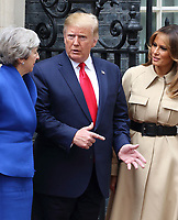 Prime Minister Theresa May, US President Donald Trump and First Lady Melania Trump outside No 10 Downing Street on the second day of the State Visit to the UK. June 4th 2019<br /> CAP/ROS<br /> ©ROS/Capital Pictures