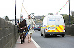 Two Brian Boru worriers crossing the Bridge to do battle at  the Brian Boru Festival in Killaloe/Ballina during the Commemoration Weekend.<br /> Pictured Credit Brian Gavin Press 22