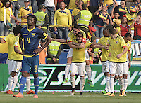 BARRANQUILLA - COLOMBIA -29-03-2016: Sebastian Perez jugador de Colombia celebra con James Rodriguez después de anotar un gol a Ecuador durante partido de la fecha 6 para la clasificación a la Copa Mundial de la FIFA Rusia 2018 jugado en el estadio Metropolitano Roberto Melendez en Barranquilla./  Sebastian Perez  player of Colombia celebrates with James Rodriguez after scoring a goal to Ecuador during match of the date 6 for the qualifier to FIFA World Cup Russia 2018 played at Metropolitan stadium Roberto Melendez in Barranquilla. Photo: VizzorImage / Gabriel Aponte / Cont