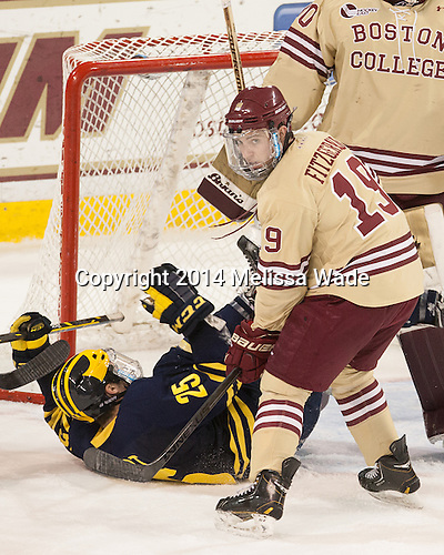 Max Shuart (Michigan - 25), Ryan Fitzgerald (BC - 19) - The Boston College Eagles defeated the visiting University of Michigan Wolverines 5-1 (EN) on Saturday, December 13, 2014, at Kelley Rink in Conte Forum in Chestnut Hill, Massachusetts.