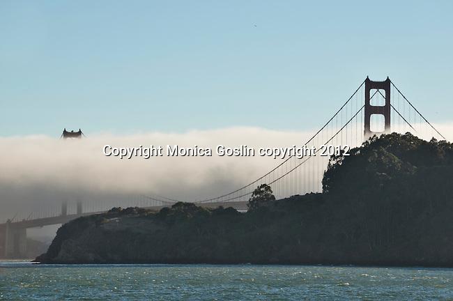 Golden Gate Bridge with fog in San Francisco, California