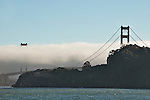 Golden Gate Bridge with fog in San Francisco, California
