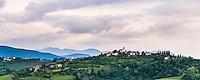Vineyards in Goriska Brda, showing Chiesa di San Floriano del Collio and the hill top town of Gornje Cerovo, Goriska Brda, Slovenia, Europe
