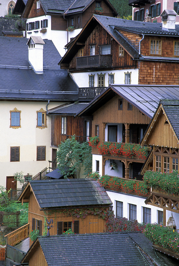 Tirolian architecture in the village of Hallstatt, Austria