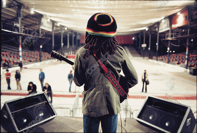 Bob Marley during sound check in Paris, during the Exodus Tour. France, May 10, 1977.