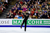 Friday, April 1, 2016: Wenjing Sui and Cong Han (CHN) compete in the Pairs Short Program at the International Skating Union World Championship held at TD Garden, in Boston, Massachusetts. Sui and Han placed first in the short program. Eric Canha/CSM