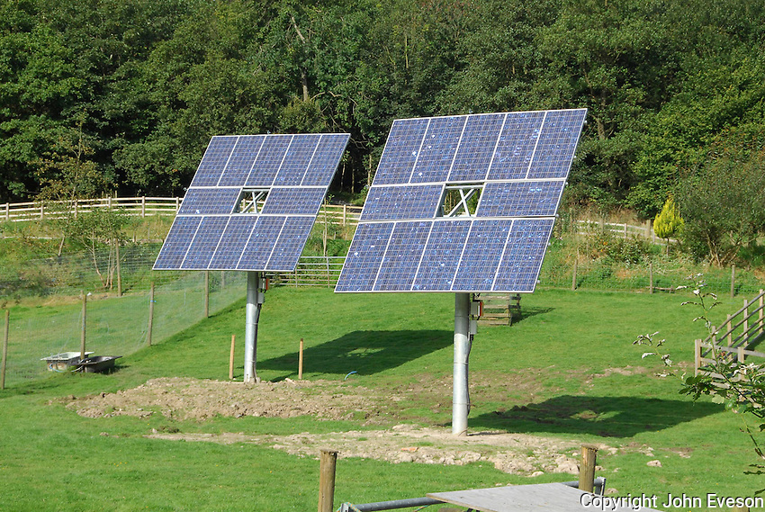 Solar panels used to provide electricity and hot water at Wild Boar Park, Chipping, Lancashire.