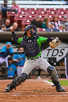 Lake County Captains catcher Bo Naylor (24) throws down to second base between innings during a Midwest League game against the Wisconsin Timber Rattlers on May 10, 2019 at Fox Cities Stadium in Appleton, Wisconsin. Wisconsin defeated Lake County 5-4. (Brad Krause/Four Seam Images)