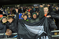 Fans celebrate after the final whistle of the Rugby Championship match between the NZ All Blacks and Argentina Pumas at Yarrow Stadium in New Plymouth, New Zealand on Saturday, 9 September 2017. Photo: Dave Lintott / lintottphoto.co.nz