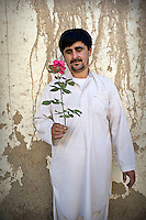 A gardener holds a pink rose.