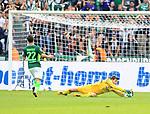 10.09.2017, OLympiastadion, Berlin, GER, 1.FBL, Hertha BSC VS. SV Werder Bremen, im Bild <br /> Rune Jarstein (Hertha BSC Berlin #22), Fin Bartels (Werder Bremen)<br /> <br /> <br />       <br /> Foto &copy; nordphoto / Engler