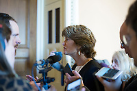 United States Senator Lisa Murkowski (Republican of Alaska) speaks with reporters outside the US Senate chamber in the US Capitol in Washington, DC on Friday, December 1, 2017.  <br /> Credit: Alex Edelman / CNP /MediaPunch