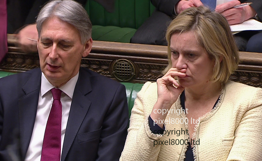 Pic shows: PMQs 3.4.19<br /> <br /> Theresa May came under heavy fire from her own colleagues for conspiring with arch enemy Jeremy Corbyn.<br /> <br /> The cabinet sat grim faced behind her.<br /> <br /> <br /> <br /> Picture by Pixel8000 07917221968