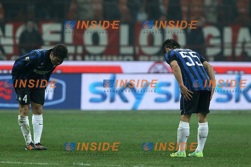"""Esultanza di Yuto Nagatomo Javier Zanetti Inter.Celebration.Milano 15/01/2012 Stadio """"S.Siro"""".Football / Calcio Serie A 2011/2012.Milan vs Inter.Foto Insidefoto Paolo Nucci"""