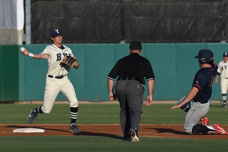 May 27, 2017; Stockton, CA, USA; BYU Cougars shortstop Daniel Schneemann during the WCC Baseball Championship at Banner Island Ballpark.
