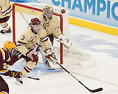 Patch Alber (BC - 3), Parker Milner (BC - 35) - The Boston College Eagles defeated the University of Minnesota Golden Gophers 6-1 in their 2012 Frozen Four semi-final on Thursday, April 5, 2012, at the Tampa Bay Times Forum in Tampa, Florida.