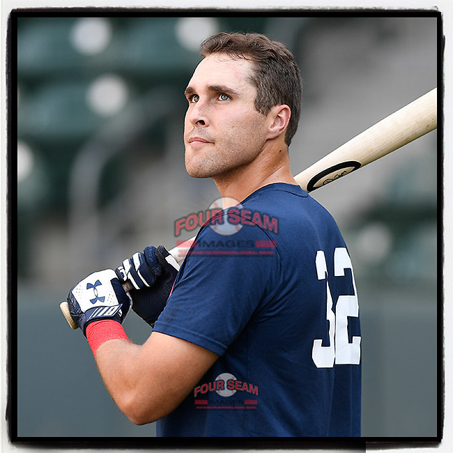 First baseman Brendan Venter (32) of the Rome Braves takes batting practice before a game against the Greenville Drive on Wednesday, July 11, 2018, at Fluor Field at the West End in Greenville, South Carolina. He is the Atlanta #Braves' 2018 13th-round draft pick. (Tom Priddy/Four Seam Images)