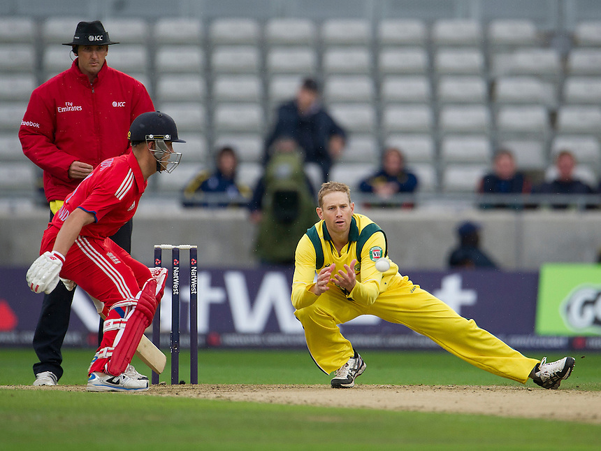 Australia's Adam Voges takes the wicket of England's Joe Root catching the batsman off his own bowling - JE Root c &amp; b Voges 12<br /> <br /> Photo by Stephen White/CameraSport<br /> <br /> International Cricket - NatWest Series - 3rd ODI -  England v Australia - Wednesday 11th September 2013 - Edgbaston, Birmingham<br /> <br /> &copy; CameraSport - 43 Linden Ave. Countesthorpe. Leicester. England. LE8 5PG - Tel: +44 (0) 116 277 4147 - admin@camerasport.com - www.camerasport.com