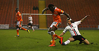 Blackpool's Armand Gnanduillet and Charlton Athletic's Krystian Bielik<br /> <br /> Photographer Stephen White/CameraSport<br /> <br /> The EFL Sky Bet League One - Blackpool v Charlton Athletic - Saturday 8th December 2018 - Bloomfield Road - Blackpool<br /> <br /> World Copyright &copy; 2018 CameraSport. All rights reserved. 43 Linden Ave. Countesthorpe. Leicester. England. LE8 5PG - Tel: +44 (0) 116 277 4147 - admin@camerasport.com - www.camerasport.com