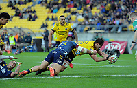 Devon Flanders scores during the Super Rugby Aotearoa match between the Hurricanes and Highlanders at Sky Stadium in Wellington, New Zealand on Sunday, 12 July 2020. Photo: Dave Lintott / lintottphoto.co.nz