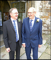 BNPS.co.uk (01202 558833)<br /> Pic: AnthonyOliver/BNPS<br /> <br /> Nervous Rob(r) with best man Barry Smith outside the Minster.<br /> <br /> A couple with a combined age of 183 have tied the knot to become Britain's oldest newlyweds.<br /> <br /> Rob Cave, 91, and 92-year-old Margaret James, a former actress who appeared in the classic romance film Brief Encounter, wed in front of 150 friends and family at Wimborne Minster in Dorset.<br /> <br /> The church-going couple have known each other for over 30 years but became an item after their respective spouses died within three months of each other in 2015.<br /> <br /> They consoled each other to begin with and from seeing each other every day, their friendship developed into a romance.