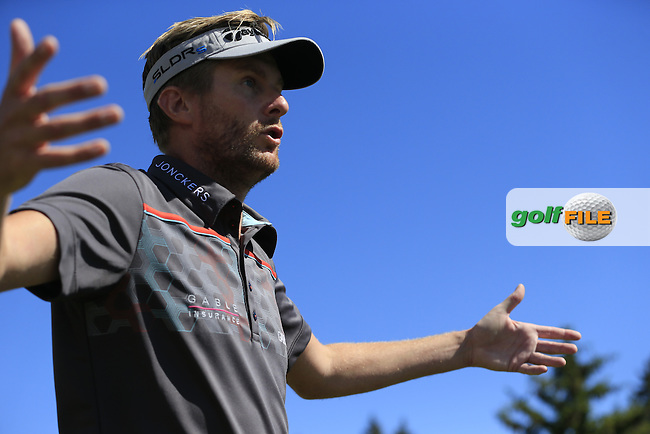 David LYNN (ENG) walks off the 14th tee during Saturday's Round 3 of the 2014 Omega European Masters held at the Crans Montana Golf Club, Crans-sur-Sierre, Switzerland.: Picture Eoin Clarke, www.golffile.ie: 6th September 2014