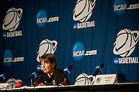 FRESNO, CA--Head Coach Tara VanDerveer fields questions from the media before an off-day practice at the Save Mart Center for the 2012 NCAA Championships.