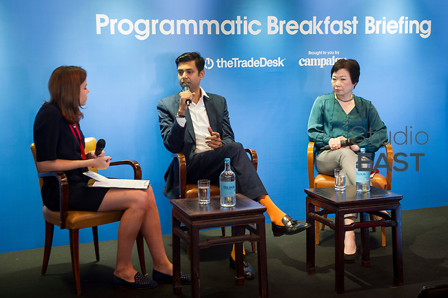 "The Marketing Panel ""Programmatic and the marketer of tomorrow"" with Suresh Balaji, Regional Head of Marketing, HSBC Retail Banking and Wealth Management, Hong Kong, Seraphina Wong, Executive Director, Global Advertising, Head of Asia Pacific, UBS, Hong Kong, and moderator Olivia Parker, Deputy Editor, Campaign Asia-Pacific, Hong Kong, during the The Trade Desk Programmatic Breakfast Briefing on 13July 2017 in the China Club, Hong Kong. Photo by Lucas Schifres"