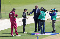Ian Bishop interviews Kane Williamson of New Zealand at the toss during West Indies vs New Zealand, ICC World Cup Warm-Up Match Cricket at the Bristol County Ground on 28th May 2019