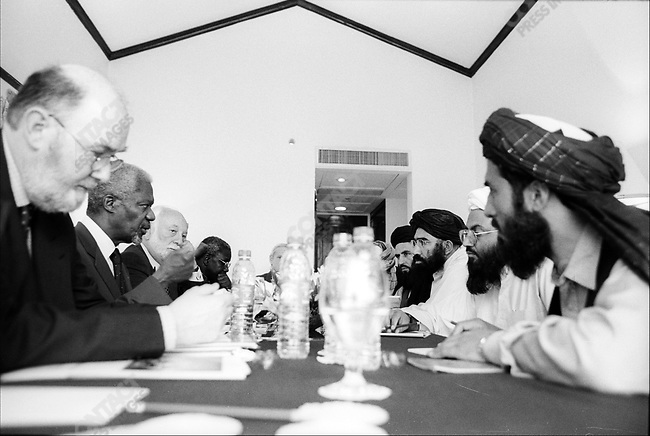 Taliban Foregin Minister Wakil Ahmed Mutawakel (white turban) & to his left, Taliban ambassador to Pakistan Mullah Abul Salam Zaeef, meeting with UN secretary General Kofi Annan. .Pakistan.March 2001