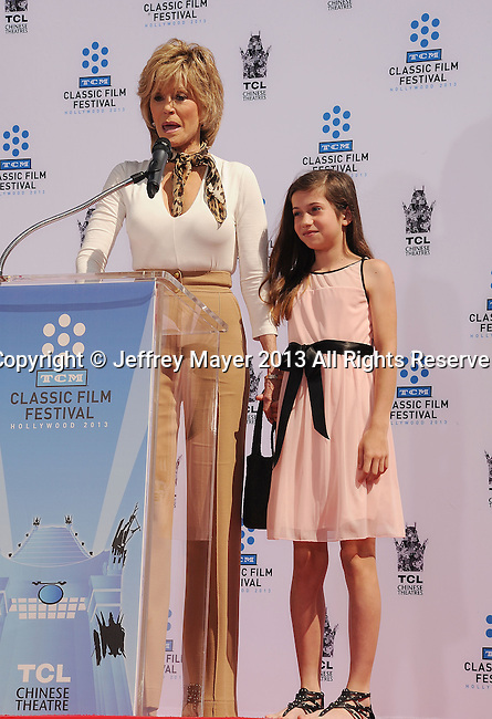 HOLLYWOOD, CA- APRIL 27: Actress Jane Fonda and granddaughter Viva Vadim attend actress Jane Fonda's Handprint/Footprint Ceremony during the 2013 TCM Classic Film Festival at TCL Chinese Theatre on April 27, 2013 in Los Angeles, California.