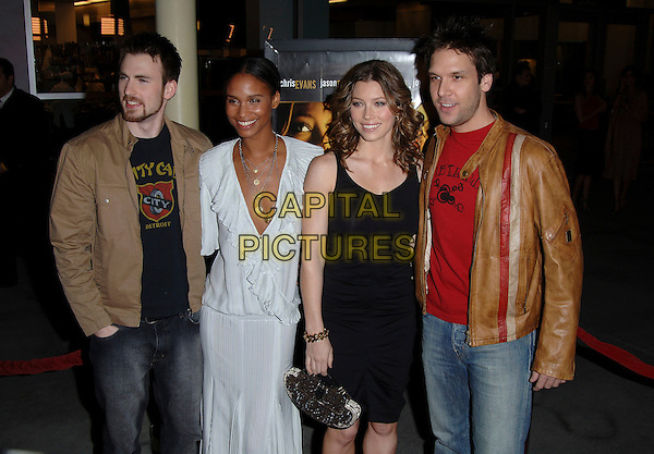 "CHRIS EVANS, JOY BRYANT, JESSICA BIEL & DANE COOK.At the premiere of the film ""London"".Held at the Arclight Cinema, Hollywood, CA, USA,.6th February 2006..half length black dress ruched gathered Fendi? bag bow cast.Ref: MOO.www.capitalpictures.com.sales@capitalpictures.com.©Capital Pictures."