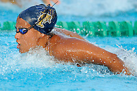 15 October 2010:  FIU's Yesica Rojas competes in the 100 yard butterfly during the meet between the FIU Golden Panthers and the University of Miami Hurricanes at the Norman Whitten Student Union Pool in Coral Gables, Florida.