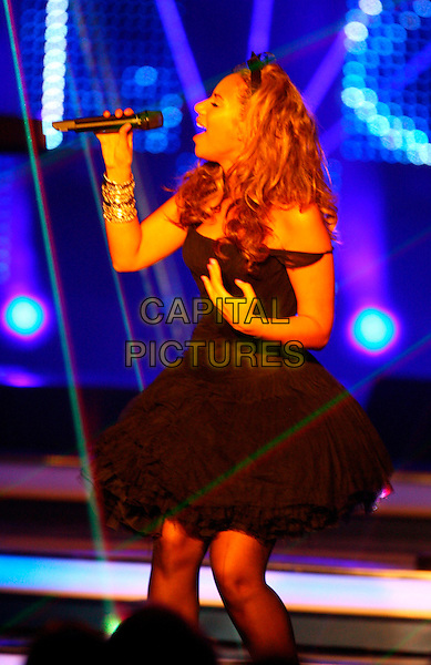 LEONA LEWIS .Bambi Awards 2008, Offenburg, Germany..November 27th, 2008.full length black dress hair band headband chiffon netting off the shoulder stage concert live gig performance music profile singing .CAP/PPG/TF.©T.Furthmayr/People Picture/Capital Pictures