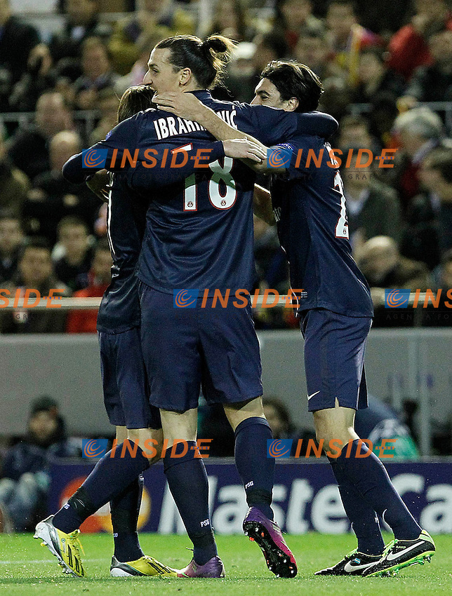 Paris Saint-Germain's Maxwell (l), Zlatan Ibrahimovic (c) and Javier Pastore celebrate goal during Champions League 2012/2013 match.February 12,2013. (ALTERPHOTOS/Acero) .Valencia 12/2/2013 .Valencia Vs PSG.Football 2012/2013 Champions League.Foto Insidefoto.ITALY ONLY