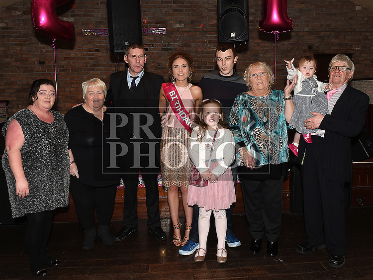 Rosie Smith celebrating her 21st birthday with partner Ross Flood and their families in The Venue at McHugh's. Photo:Colin Bell/pressphotos.ie