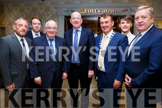 At the Fine Gael celebration in honour of Jimmy Deenihan in The Rose Hotel on Friday were Senators Jerry Buttimer, Timmy Eoin O'Sullivan, Senator Paul Coghlan, Minister for Justice and Equality Charlie Flanagan, Mayor of Kerry Cllr John Sheahan, Arthur O'Mahony and Minister for Enterprise and Innovation Pat Breen