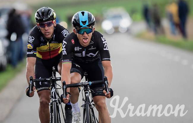 Michal Kwiatkowski (POL/SKY) &amp; Philippe Gilbert (BEL/Quick Step floors) racing together towards the finish<br /> <br /> 52nd Amstel Gold Race (1.UWT)<br /> 1 Day Race: Maastricht &rsaquo; Berg en Terblijt (264km)