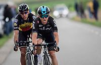 Michal Kwiatkowski (POL/SKY) &amp; Philippe Gilbert (BEL/Quick Step floors) racing together towards the finish<br /> <br /> 52nd Amstel Gold Race (1.UWT)<br /> 1 Day Race: Maastricht &rsaquo; Berg en Terblijt (264km)