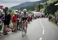 Laurens ten Dam (NLD/Giant-Alpecin) up the Montée de Bisanne (HC/1723m/12.4km/8.2%)<br /> <br /> Stage 19:  Albertville › Saint-Gervais /Mont Blanc (146km)<br /> 103rd Tour de France 2016