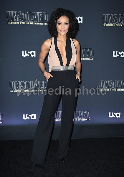"22 February 2018 - Hollywood, California - Annie Ilonzeh. USA Network's ""Unsolved: The Murders of Tupac & The Notorious B.I.G."" held at Avalon Hollywood. Photo Credit: Birdie Thompson/AdMedia"