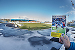 Central Park, Cowdenbeath with ice covered trackside and a sun drenched pitch after the game was called off